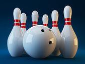 Bowling. 3D illustration on dark blue background — Stock Photo