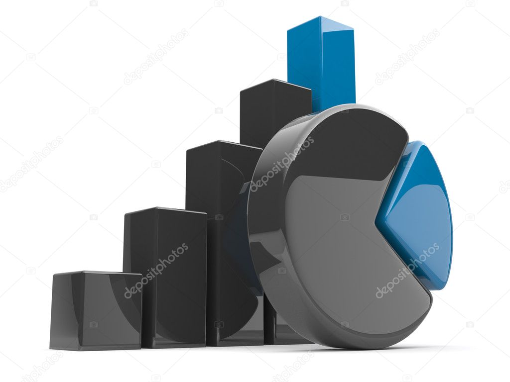 Business diagram 3d. graph Isolated — Stock Photo #6147944