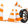 Royalty-Free Stock Photo: Automobile wheel has collided cones