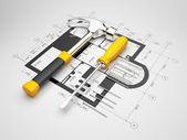 Plan de construcción. Ilustración 3d — Foto de Stock