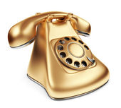 Téléphone vintage or. 3d illustration isolé sur blanc — Photo