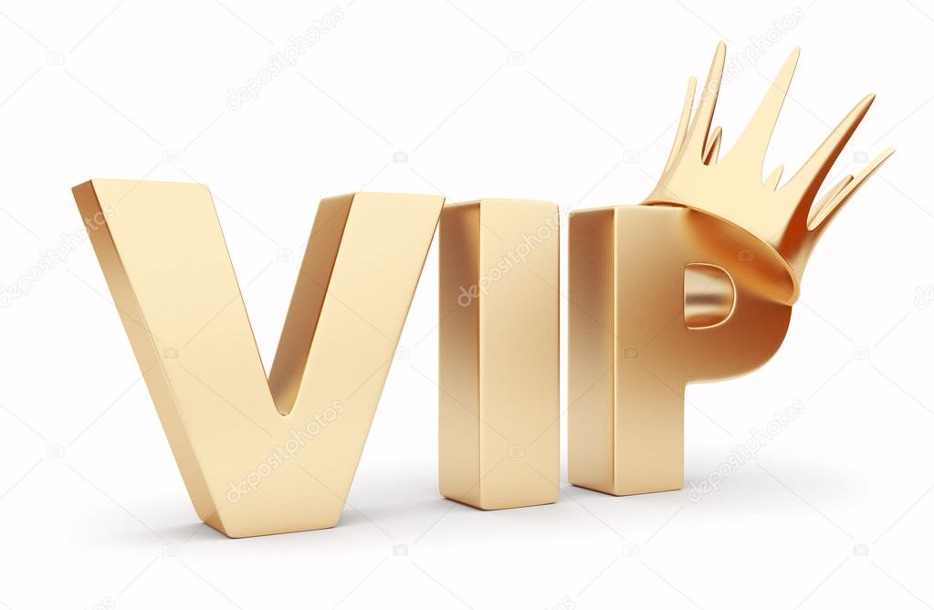 VIP 3D text  with crown. Isolated — Stock Photo #6454127