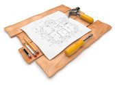 Plan of construction. Place of work. 3D illustration isolated on — Stock Photo