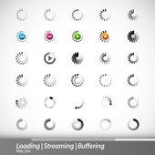 Chargement, streaming, buffering icônes vectorielles — Vecteur