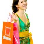 çanta ile genç kız — Stok fotoğraf