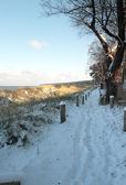 Verschneiter Weg hinter den Dünen am Strand von Lubmin bei Greifswald. — Stock Photo