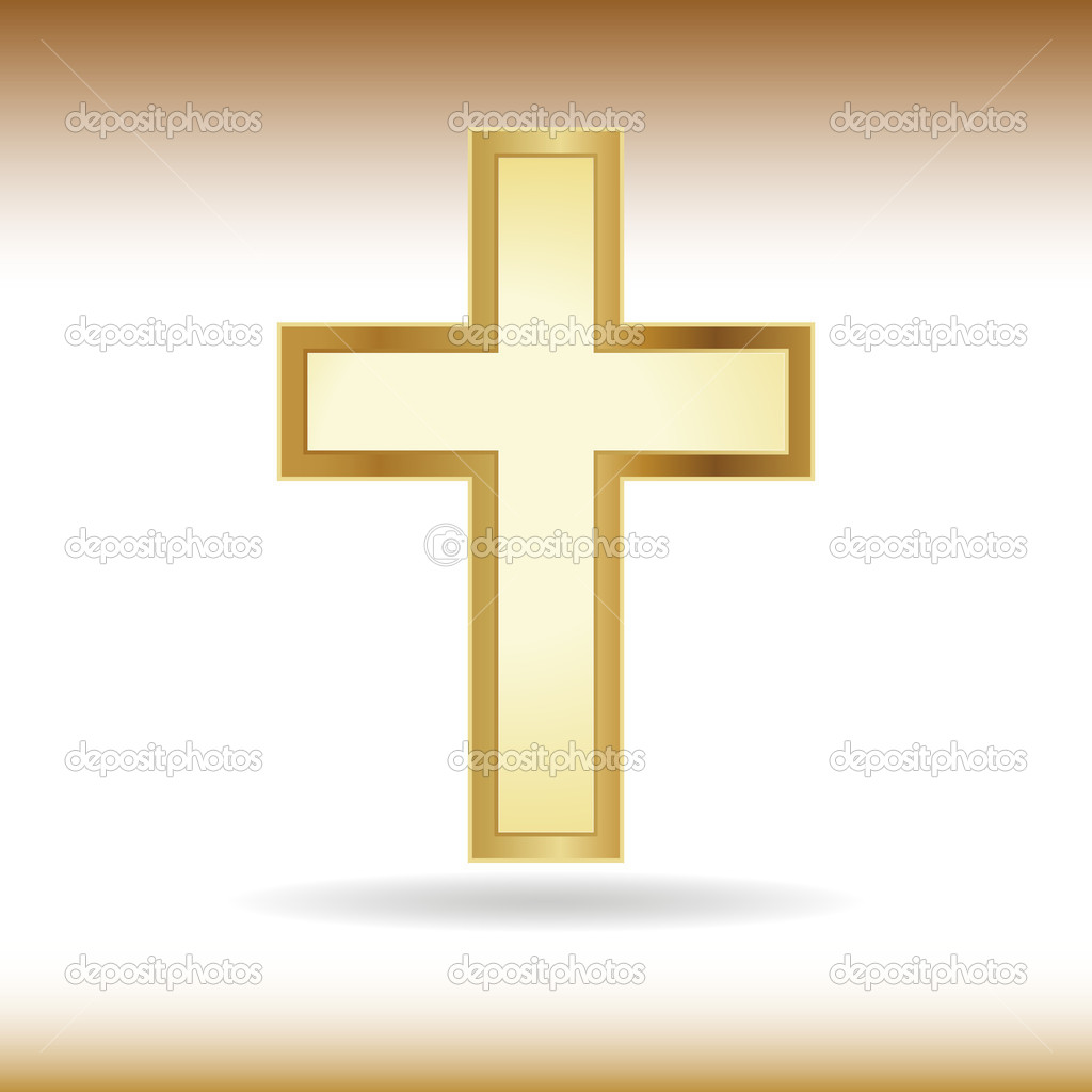 Golden cross. Symbol of the Christian faith.  Stock Vector #5879301