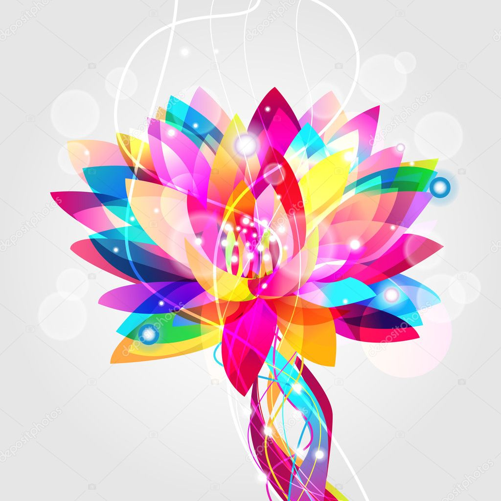 Bright vector illustration with multicolor lotus  Stock Vector #5573503