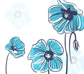 Blue poppies — Stock Vector