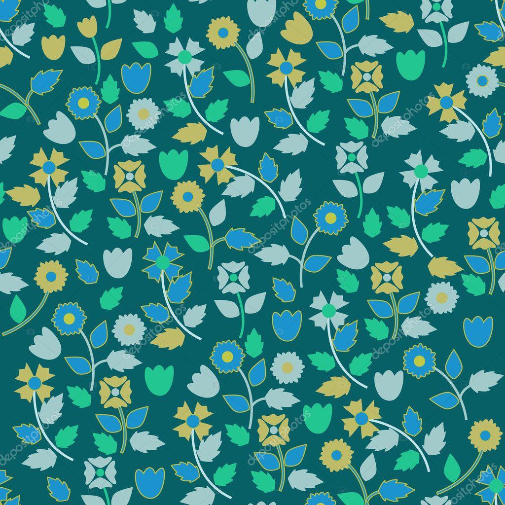 Фон цветочный синий