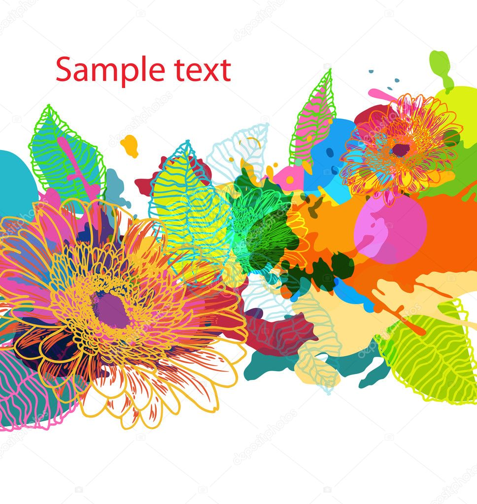 Abstract vector floral grungy bright backround — Stock Vector #6167977