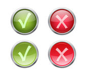 Set of vector accept and decline buttons — Stock Vector