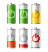 Battery icons with level of charging — Stock Vector