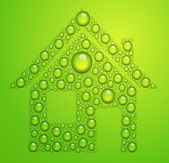 Vector house of the water drops on green background — Stock Vector