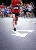 Marathon runners - blurred motion — Stock Photo