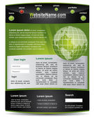 Editable black and green website template — Stock Vector