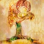 ursprungliga stiliserade träd — Stockfoto