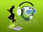 Music Earth With Headphones — Stock Photo