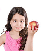 Pretty girl with apple — Stock Photo