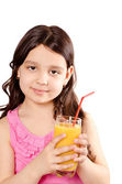 Girl with orange juice — Stock Photo