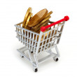 Gold coins in shopping cart — Stock Photo #6682909