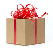 Gift Box whits red ribbon isolated on white — Stock Photo