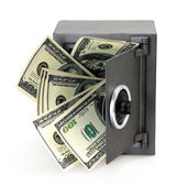 Money in open safe — Stock Photo
