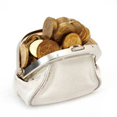 Open purse with gold coins — Stock Photo