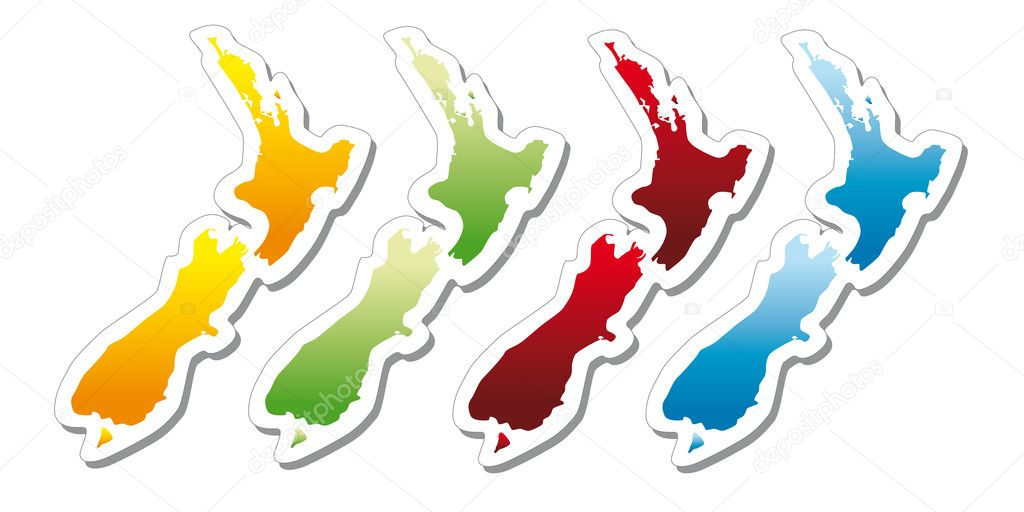 Shinny stickers in form of map of New Zealand — Stock Vector #5812334
