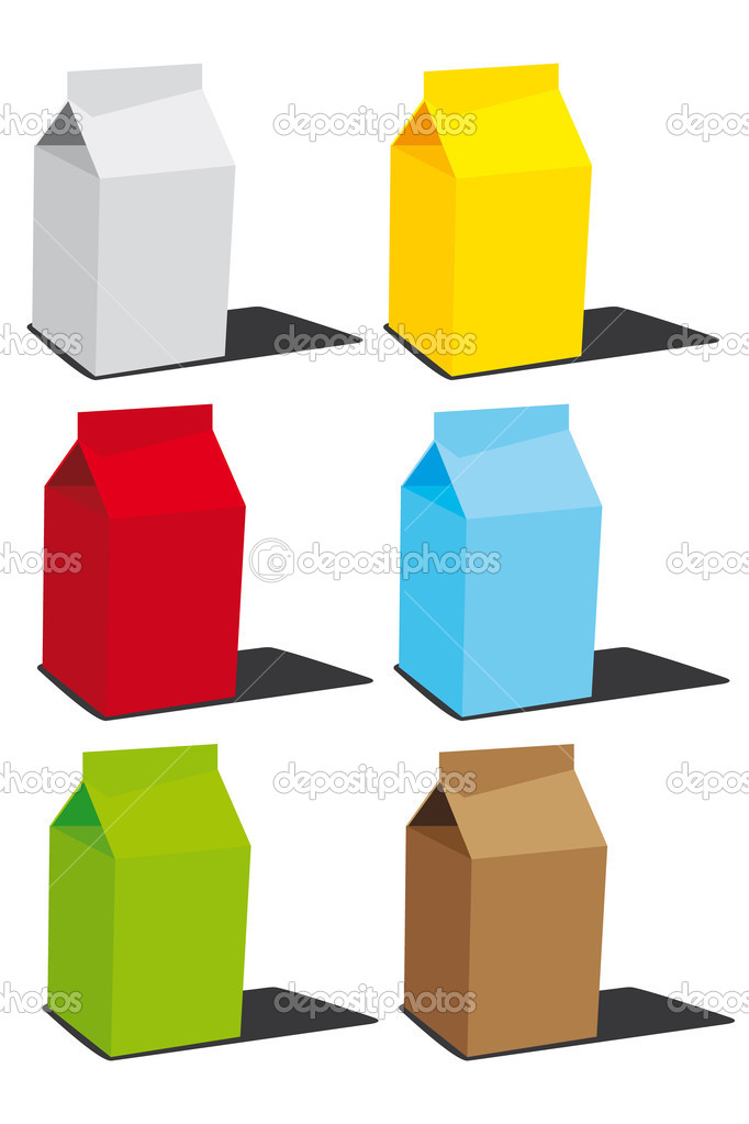 Milk or juice boxes  — Imagen vectorial #6283925