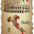 Italy map and Colloseum on old paper — Stock Vector