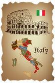 Mapa itálie a colloseum na starý papír — Stock vektor