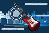 Graphic illustration of abstract background with electric guitar — Stock vektor
