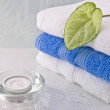 Stack of bath towels - Stock Photo