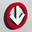 Stock Photo: White arrow in red circle