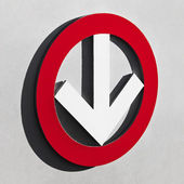 White arrow in red circle — Stock Photo
