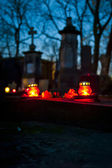 Candle on cemetery — Stockfoto