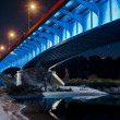 Night view of bridge in Warsaw — Stock Photo