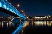 Night panorama of Warsaw — Stock Photo