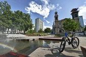 Panorama of Grzybowski square in Warsaw — Stock Photo