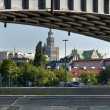 Warsaw city panorama with bridge and river - Stock Photo