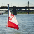 Polish flag with bridge in background - Stock Photo