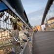 Love padlock on footbridge — Stock Photo