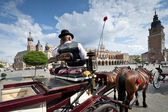 Cabby man on the Old Town square in Krakow, Poland — Foto de Stock