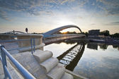 Modern footbridge in Krakow, Poland — Stock Photo