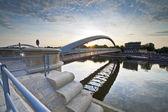 Modern footbridge in Krakow, Poland — Stock Photo