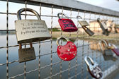 Love padlock on th bridge — Stock Photo