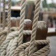 Rope on the old boat - Stock Photo