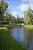 Old church and river — Stockfoto