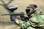 Paintball Player (in profile) — Stock Photo